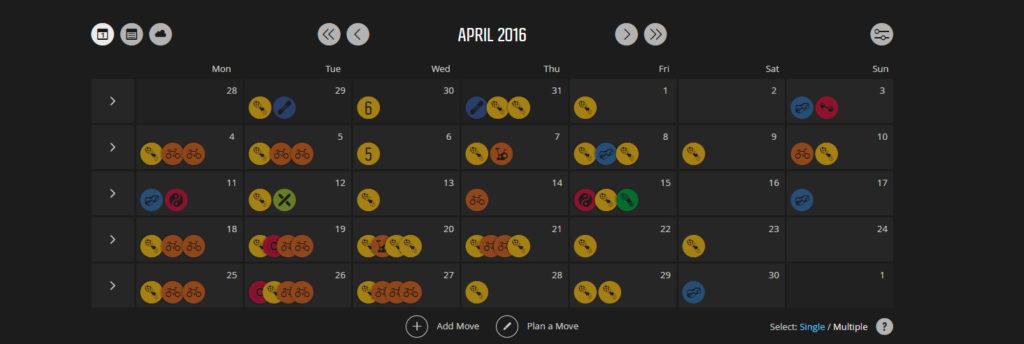 Elokuun harjoitukset kalenterissa